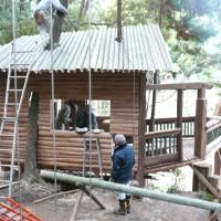 屋根も長さを揃えて。綺麗に仕上がりました。 あとは、中心に大きな竹を割って据え付けるのみです。