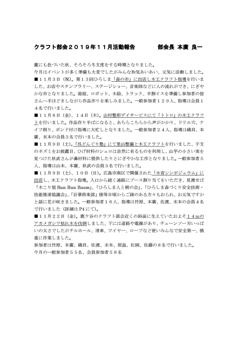 クラフト部会2019年11月活動報告